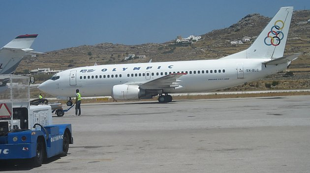 Olympic 737 at Mykanos August 2008